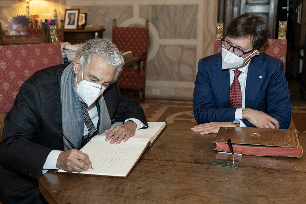 Placido Domingo in visita a Palazzo Vecchio 14 ottobre 2020