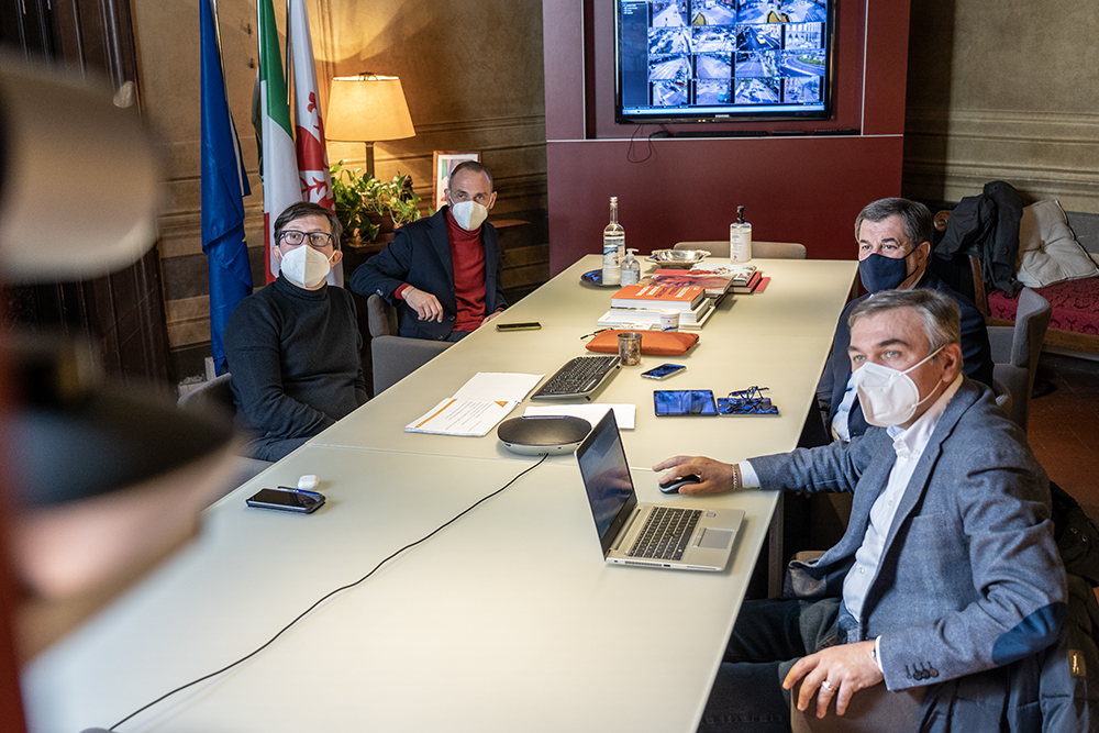 Conferenza stampa nuova tramvia che collegherà il centro di Firenze con quello di Campi Bisenzio, 23 febbraio 2021